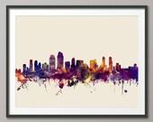 San Diego Skyline, San Diego California Cityscape Art Print (2162)