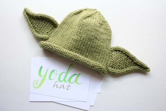 Hand Knitted Baby Yoda Hat in 0-6 months Yoda Ears Baby