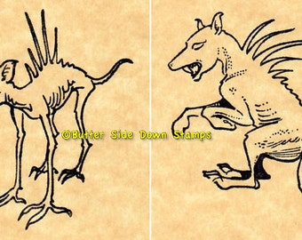 Chupacabra Rubber Stamp Set of 2