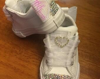 Custom White Leather Jeweled Converse