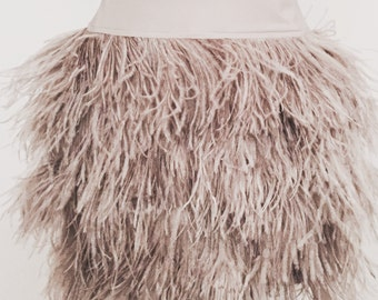 Gray Custom Ostrich Feather Skirt