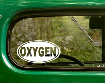Oval Oxygen Decal, Car Decal, Oxygen Sticker, Euro Decal, Laptop Sticker, Oval Sticker, Bumper, Vinyl Decal, Car Sticker