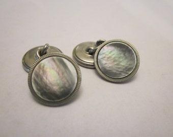 Art deco abalone cuff links Free Shipping