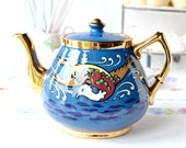 Vintage teapot in deep blue with hand painted sea bird and rich gold detailing: good sized teapot from R Sudlow and Sons, very collectable