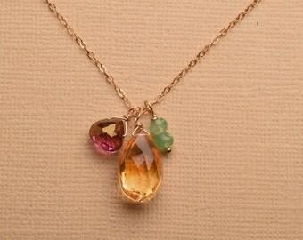 Citrine Necklace, Gemstone Gold Chain Necklace, Healing Gemstone Jewelry, Pink Green Gemstone Necklace