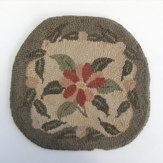 Chair Size Hooked Rug Or Pad / Seat Cover / Green Rose And
