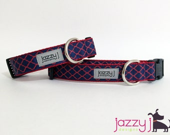 Navy Blue and Red Quatrefoil Trellis Dog Collar