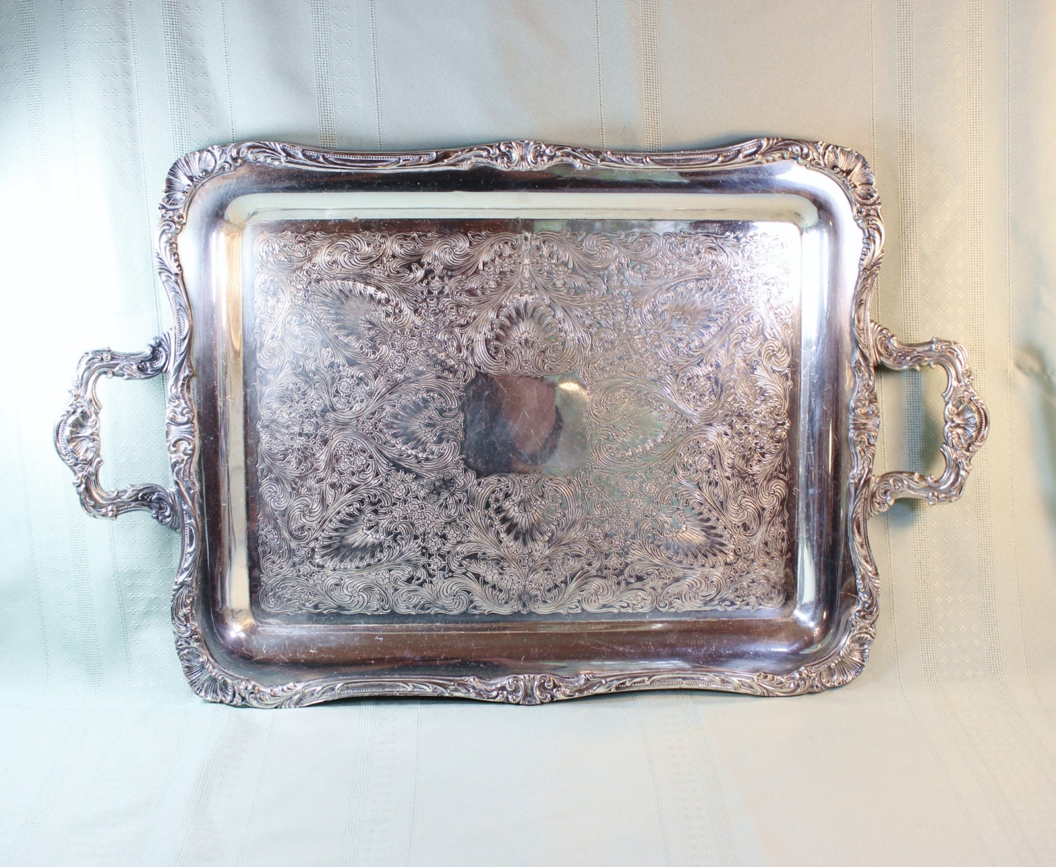 Silver Plate Tray Wm Rogers 290 Vintage Serving Tray Large