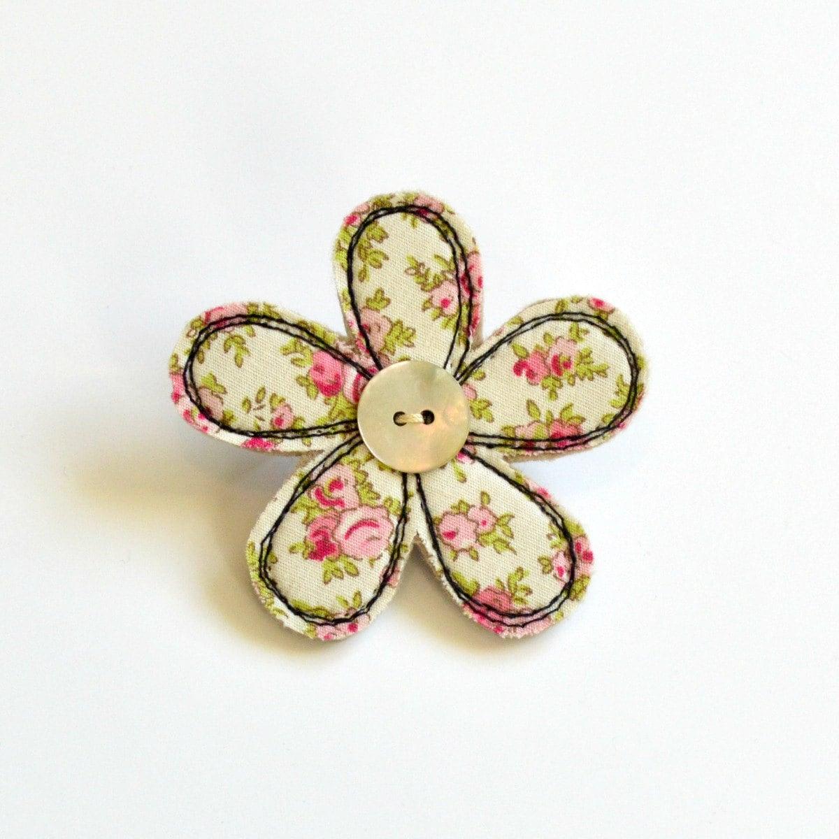Pink and cream fabric flower BROOCH Flower badge Flower