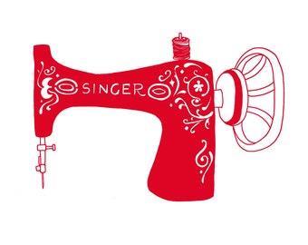 Any colour Mini Singer Sewing Machine Print