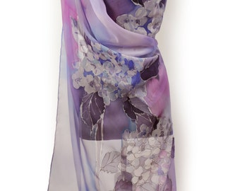 New collection/Violet painting floral chiffon scarf/Hand painted silk shawl/Long luxury lila scarf/Luxury accessory/Painting by nahd/S0211