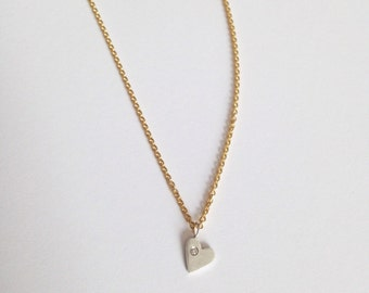 petite silver and gold diamond heart necklace