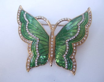 Elegant Green Enamel Crystal Butterfly Brooch