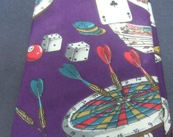 Whimsical Silk Print Games Theme Necktie