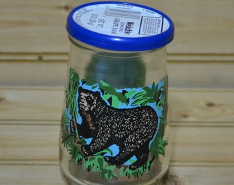 Vintage Jelly Juice Glass Welch's Endangered Species Collection Spectacled Bear WWF Welch's Grape Jelly 1994