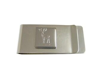 Engraved Stag Deer Money Clip