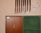 Cutco Cutlery Mid Century MOD 1950s Steak Knife Set of 8 in Box W Rare DD edge
