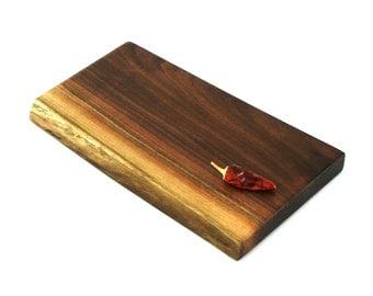 "Wine and Cheese Board - Walnut - Ready to Ship - 12"" x 6-3/4"" x 1"""