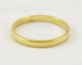 2.5mm Traditional Wedding Band / Solid 14k 18k 22k 24k Gold / Flat Sided Domed Top Half Round Ring
