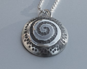 Spiral Silver Pendant, Sterling Silver Jewellery, spiral necklace.