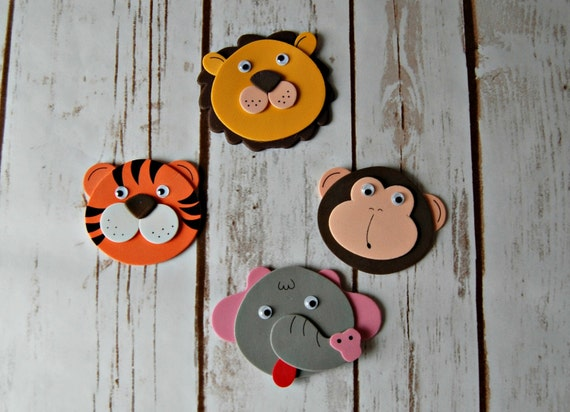 Foam zoo safari animal craft kit magnet craft party for Where to buy magnets for crafts