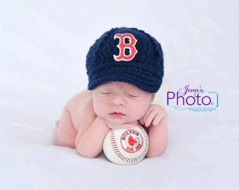 Baby Boston Red Sox Cap Hat - Knit / Crochet - Baby Gift / Newborn - Photo Photography Prop - Baseball MLB
