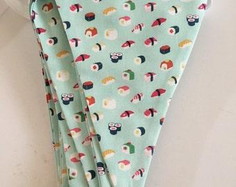 Sushi Party. Sushi Bunting Banner. Sushi Fabric Pennant Banner. Sushi Banner. Sushi Fabric Banner. Sushi bunting. Ready to ship!