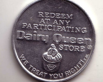 Dairy Queen Store Free Sundae or 40 cents Off Royal Treat Aluminum Token