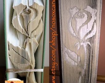 Long Stem Rose Cut & Fold Book Art Pattern