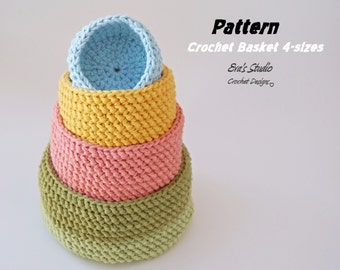 Crochet basket - 4 sizes, crochet pattern, easy, Crochet Pattern PDF, Great for Beginners, Pattern No. 91