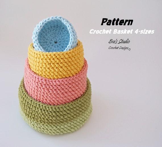 Crochet Basket 4 Sizes Crochet Pattern Easy Crochet