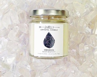"Obsidian Crystal Candle ""Little Sister"""