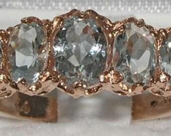 Solid 9K Rose Gold 5 Natural Aquamarines Engagement Ring, Wedding Ring, English Vintage Style Ring, Eternity Ring - Customize:14K,18K