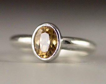 Honey Zircon Ring - Sterling Zircon Ring - Ready to Ship Size 6 - Sample Sale