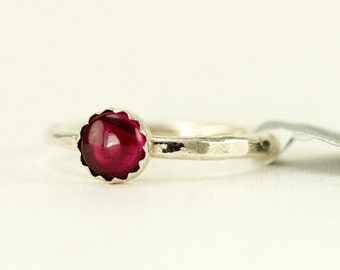 Ruby Sterling Stacking Ring - 6mm Lab Crated Ruby - Hammered Silver Band