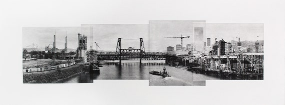Portland Fine Art - Original Art - Photographic Etching - Print - Photography- Oregon - Bridge View - Skyline - Photogravure - photo collage