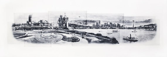 Seattle Fine Art - Original Art - Photographic Etching - Art Print - Photography - Washington - Photogravure - Photo Collage - Gasworks Park