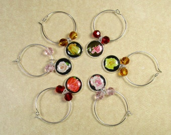 Rose Garden Wine Charms