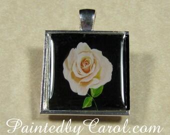 Pink Rose Pendant - Royal Wedding, Pale Pink, Full Bloom, Rose, Flower, Floral Square Pendant