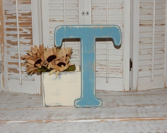 Wooden Letter T Distressed Wood letters Any Letter Made To order Photo Props