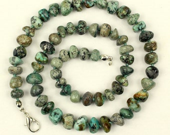 Turquoise Necklace 9mm Pebble Beads 9 mm African Turquoise Natural Beads MapenziGems