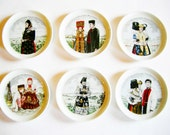 Set of Six Vintage German Folk Art Coasters with German Traditional costumes made from Company Fürstenberg