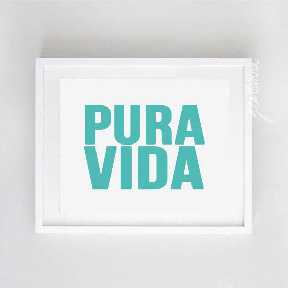 Instant download digital print costa rica pura vida quote art for Pura vida pdf