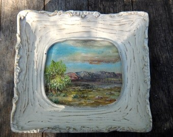 Faux Bois, Frame, Vintage Frame, Framed Art, 6 x 5 Frame, Faux Tree, Landscape Art, Painting, Painted Frame, Small Painting, Vintage Art