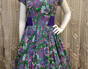 Fabulous 1950's silk taffeta garden party floral fit and flare dress