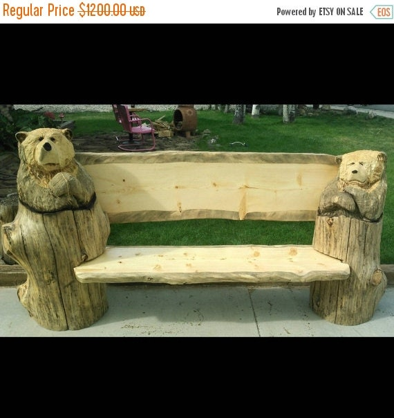 Now on sale rustic bench chainsaw carving large by woodzwayz