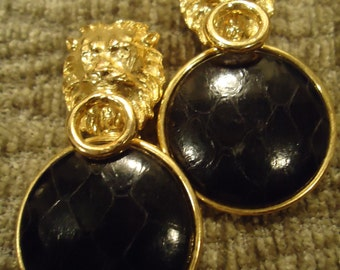 Vintage 1980s Boho Classy Gold Tone and Black Leather Lion Clips
