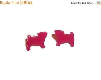 Pug Stud Earrings, Hot Pink Small Dainty Cute Kawaii Dog Stud Earrings, Animal Jewelry