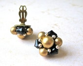 Black Gold Earrings Clip on Beaded Wired Stamped Japan Glass Stylish Fashion Gift for her Cluster Beautiful