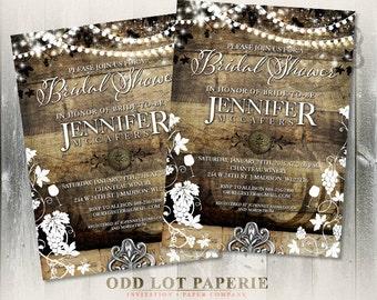 Rustic Vineyard Bridal Shower Invitation, Winery Bridal Shower Invite, Summer Wedding, Spring Wedding | Fall Wedding | Winter Wedding